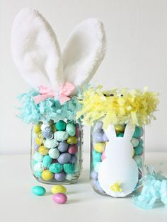 "Feeling ""meh"" about baskets this year? Fill up mason jars with #Easter candy instead."