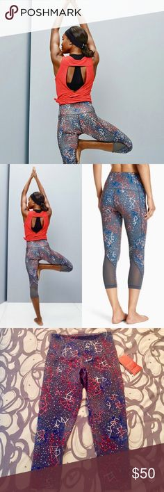 """Zella 'Hatha' High Waist Cool Crop Leggings brand new with tags Zella 'Hatha' High Waist Crop Leggings in cool splash of colors design. Breezy mesh back panels ventilate snug leggings designed with a flattering high waistband and cropped ankles. Appx. 20"""" inseam Zella Pants Leggings"""