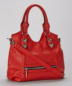 Look what I found on #zulily! Red Zipper Studded Vegan Leather Tote #zulilyfinds