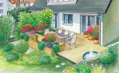 Eine geräumige Terrasse in die bisher nicht viel Arbeit gesteckt wurde soll neu gestaltet werden. Wir zeigen Ihnen zwei Gelstaltungsideen für diese Terrasse und integrieren in beide einen Sichtschutz – Mit Pflanzplan als PDF zum Herunterladen