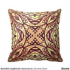 Beautiful complicated  moroccan ornament. throw pillow make interior unique and add aesthetics sense. Ornament create in oriental tradition. #Home #decor #Room #Interior #decorating #Idea #Styles