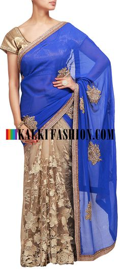 Buy it now  http://www.kalkifashion.com/half-and-half-saree-in-blue-and-gold-with-zari-embroidery.html Half and half saree in blue and gold with zari embroidery