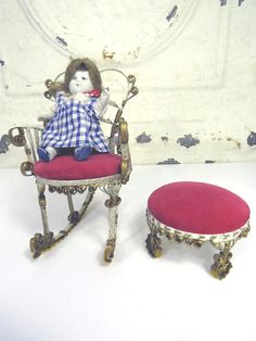 Dollhouse Tin Can Rocking Chair & Ottoman Quilled Tin Unique
