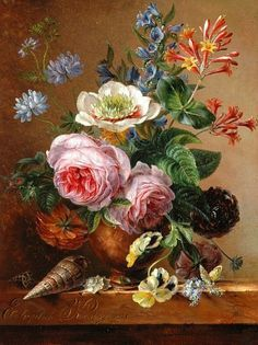 Elisabeth Johanna Koning (Dutch artist, Exuberant Flower Still Life on a Marble Ledge 1841 Art Floral, Motif Floral, Dutch Still Life, Still Life Art, Botanical Illustration, Botanical Prints, Still Life Flowers, Social Art, Dutch Artists