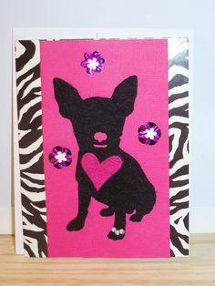 Animal Print Dog Heart Card (vert.)