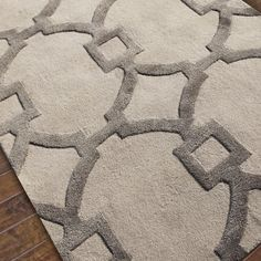 Contemporary Fretwork Plush Wool and Silk Rug