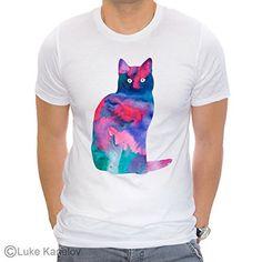 Cat 2 Unisex T-shirt, Watercolor art print, ring spun Cotton 100% #tshirts