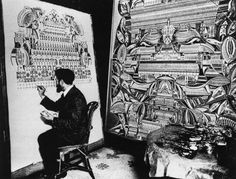 Portrait of the French spiritualist artist Augustin Lesage (1876-1954) at work in his studio.