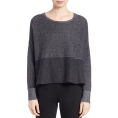 Eileen Fisher Cropped Cashmere Sweater ($348) ❤ liked on Polyvore featuring tops, sweaters, grey, gray cashmere sweater, grey sweater, eileen fisher sweaters, long sleeve crop sweater and cropped sweater
