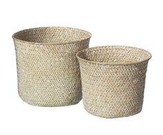 Set de 2 cestos de junco Barela - blanco y natural Rattan, Tropical, Home Living, Planter Pots, Canning, Green, Natural, Flower Pots, Blue Nails