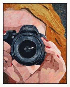 masked self portrait art quilt by kate themel Q with Vivika Hansen DeNegre