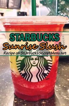 Our newest secret Starbucks drink, the Sunrise Slush! #StarbucksSecretMenu click for recipe