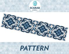 Loom Bead Pattern: Blue Porcelain Bracelet / Cuff by ScarabJewels