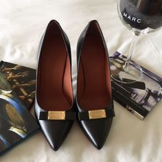 """Marc by Marc Jacobs pumps Black leather pumps with brass plate. Like new condition. 4"""" heel. Marc Jacobs Shoes Heels"""