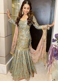 Bollywood Designer, Sonaakshi Raaj Got Married Where She Designed Her Bridal Outfits Pakistani Fancy Dresses, Asian Bridal Dresses, Asian Wedding Dress, Pakistani Wedding Outfits, Pakistani Bridal Dresses, Pakistani Wedding Dresses, Bridal Outfits, Indian Dresses, Indian Outfits