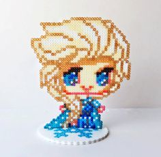 Mini Hama Perler Bead Toy Figure Elsa from Disney's Frozen with Snowflake Stand by NerdyNoodleLabs