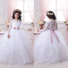 Ball-Gown Lace-Appliques Long-Sleeves Flower-Girl-Dresses_Wholesale Wedding Dresses, Lace Prom Dresses, Long Formal Dresses, Affordable Prom Dresses - High Quality Wedding Dresses - Yesbabyonline.com
