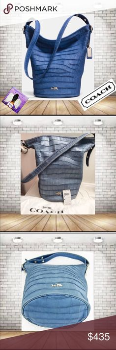 """Coach Croc Embossed Denim Duffle Shoulder Bag NWT Rare Bag December 2014 Pre-Spring Launch Of 2015 Collection. has minor Scratches from Being Displayed. 1st photo is stock.  Flat leather 1.25"""" wide handle, adjustable with buckles from 14"""" to 22"""" drop 2 multi-function slip pockets. zip pocket  Slouch Bag. Hang Tags was not released with the 2014 bags!! Bag has Silver Hang Tag Only. Color photos with light differently.  14.5"""" L (top) x 10"""" L (bottom) x 13.5"""" H  x 9"""" D. This bag will """"Weather…"""