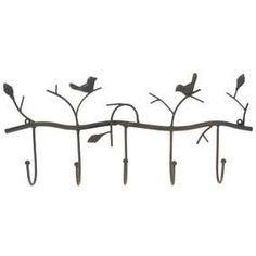 Brown 5-Hooks with Birds Metal Wall Decor