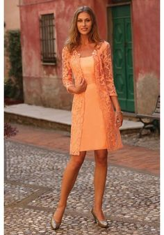 Formal Strapless Knee Length Orange Lace Sheath Column Mother Of The Bride Dress With Jacket B2lr0028