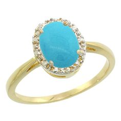 10K Yellow Gold Natural Sleeping Beauty Turquoise Diamond Halo Ring Oval 8X6mm, size 5 -- You can find more details by visiting the image link.