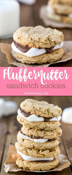 Fluffernutter sandwich cookies are peanut butter cookies with toasty marshmallow and melty chocolate sandwiched in between them.