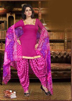 Magenta Crepe Punjabi Suit 65799