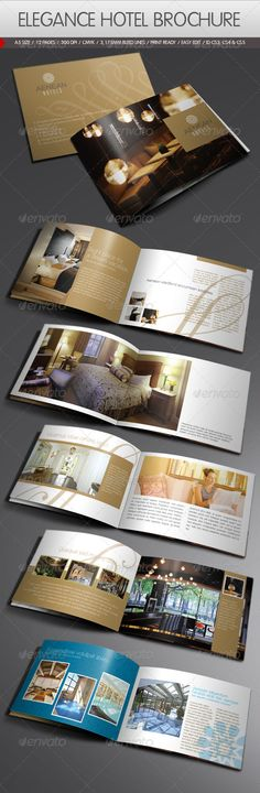 Elegance Hotel Brochure    Modern elegance brochure template for hotels, wellness & spa centers etc. Easy to change text, document guide included as well.