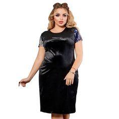 Plus Size Dress Women Velvet Autumn Bodycon Dress Large Size Elegant Sequined Big Size Female Clothes Plus Size Sequin Dresses, Sequins, Bodycon Dress, Velvet, Clothes For Women, Female, Elegant, Autumn, Color