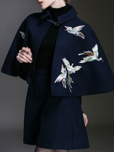 Embroidered Wool blend Short Coat with Pant