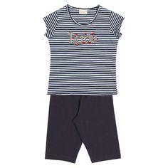 """Conj. Blusa ½ Malha Listrada / Bermuda Cotton Bordado """"LOVE"""" Tamanhos: 04 ao 16  #fashion #moda #primavera #verao"""