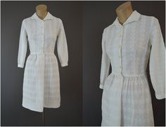 60s Embroidered White Cotton Shirtwaist Dress, Vintage 1960s L'Aiglon, XS 32 inch bust by dandelionvintage on Etsy