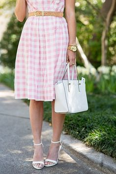 White and pink gingham dress, white ankle heels, white purse