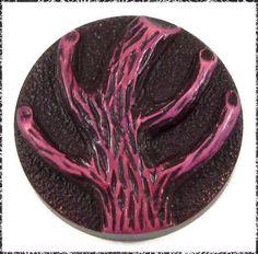 Large Vintage Celluloid Button - Buffed Creepy Tree, Dark Magenta Color