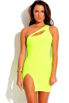 neon yellow green cut out high slit bodycon fitted club dress 1015store.com