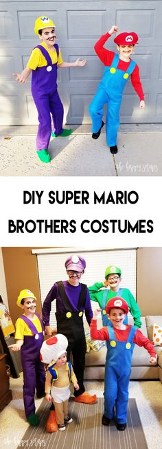 DIY Super Mario Brothers Kostüme – Things for Holidays Kids Mario Costume, Mario Brothers Costumes, Mario Kart Costumes, Mario Halloween Costumes, Super Mario Costumes, Homemade Halloween Costumes, Halloween Crafts, Halloween Ideas, Halloween 2020