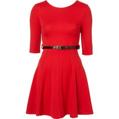 Skater Belt Dress By Rare** ($41) ❤ liked on Polyvore featuring dresses, robes, women, belt dress, red dress, three quarter sleeve skater dress, red 3 4 sleeve dress and 3 4 length sleeve dress