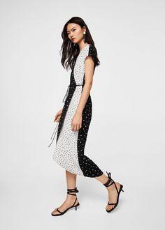 Wrap contrasted bodice dress
