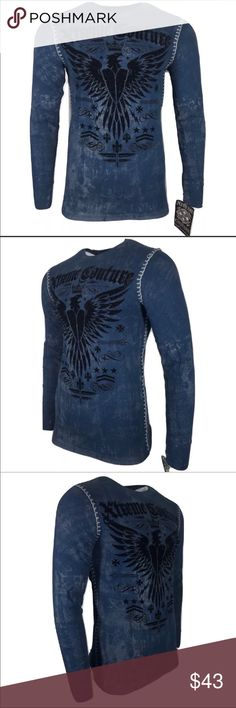02aed6dbf0d Extreme couture by affliction long sleeve shirt Extreme couture by  AFFLICTION Men shirt INTENSITY THERMAL SKULL