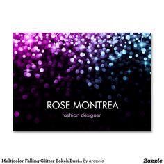 Multicolor Falling Glitter Bokeh Business Card