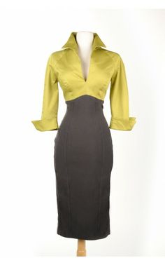 Lauren Color Block Dress in Green and Grey - Dresses - Clothing   Pinup Girl Clothing.....again - why am I not rich??!!??