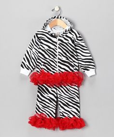 Take a look at this Red Zebra Ruffle Zip-Up Hoodie & Pants - Infant by Sparkle Couture on #zulily today!