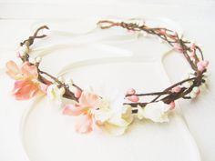 Flower Crown, Floral Crown, Bridal Headpiece, Pink Blush Coral Headband, Wreath, Woodland Wedding Hair Accessories, Berry Circlet on Etsy, 35,52€