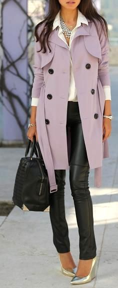 lavender trench + a statement necklace