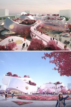 Taiwan Might Be Getting a Completely Pink Museum Park Inspired by Peach Tree Blossoms is part of Modern architecture Building Forests - Everything from the trees lining the terraces to the aluminum facade of the blossoming museum is tinged with pink Cultural Architecture, Museum Architecture, Organic Architecture, Architecture Portfolio, Futuristic Architecture, Residential Architecture, Amazing Architecture, Architecture Design, Chinese Architecture