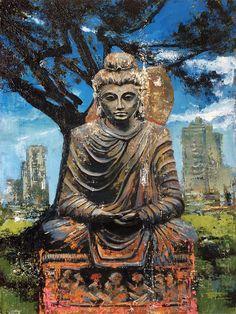 «Buddha in the park», acrylic on canvas, 80 x 60 cm, 北京 2016