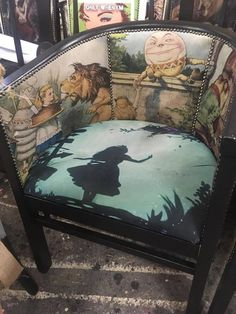 Love this chairs fabric! Would be so cool on a comfy winged back reading chair!… Love this chairs fabric! Would be so cool on a comfy winged back reading chair! Chair Upholstery, Chair Fabric, Upholstered Furniture, Funky Furniture, Furniture Makeover, Painted Furniture, Shabby Look, Painted Chairs, Vintage Chairs