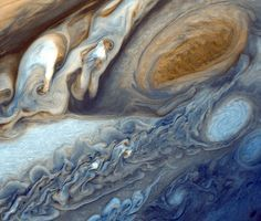 Detail in Jupiter's cloud bands as seen by the Voyager 1 spacecraft.