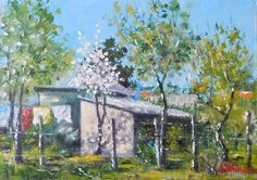 In the garden at Naieni - original oil painting x ( 24 x 34 cm) Oil, The Originals, Garden, Handmade, Painting, Etsy, Vintage, Garten, Hand Made