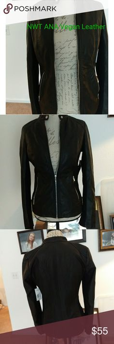 NWT ANA Vegan Leather Moto Jacket New A.N.A. size small Vegan leather Moto coat. Zippered front, 2 zippered side pockets. Gorgeous jacket. a.n.a Other